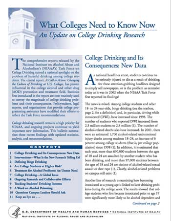 What Colleges Need to Know Now: An Update on College Drinking